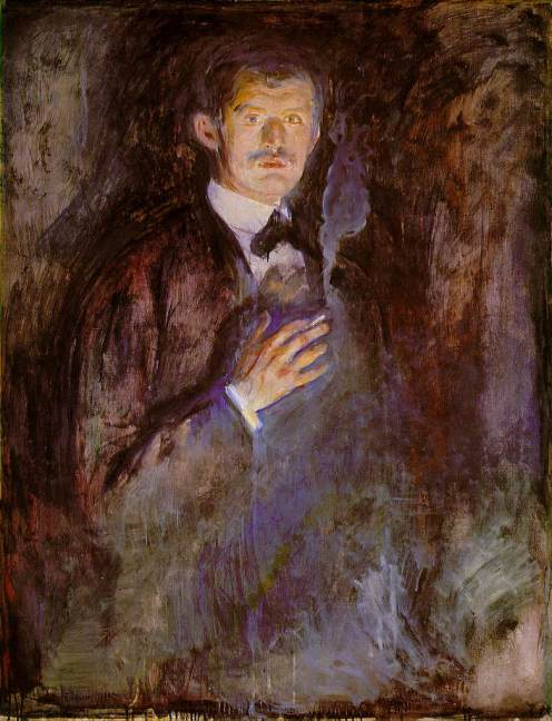 Edvard Munch - Self-Portrait with Burning Cigarette (1895)
