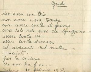 Antonia Pozzi, manoscritto di Grido