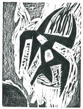 Bois gravé de Jacques Matthey, dans Parler seul, 1959
